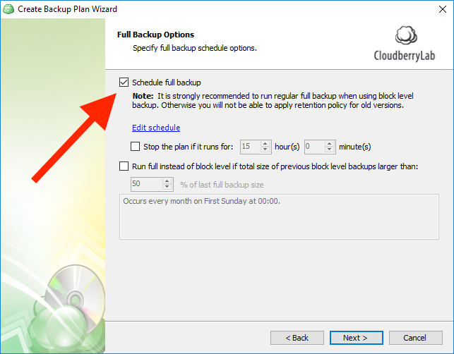 Full Backup Options CloudBerry Backup screenshot
