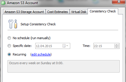 Amazon S3 consistency check settings