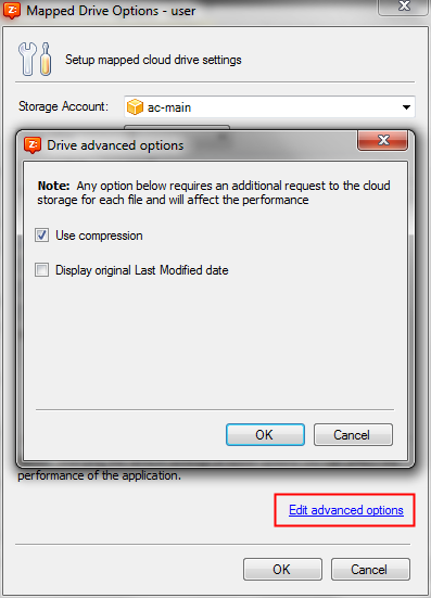 Cloud Drive Advanced Settings Window