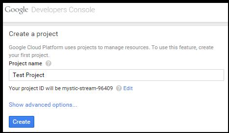 Create a new Google Cloud project