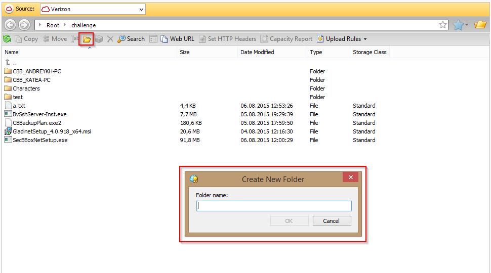 1 panel folder create CloudBerry S3 Explorer PRO
