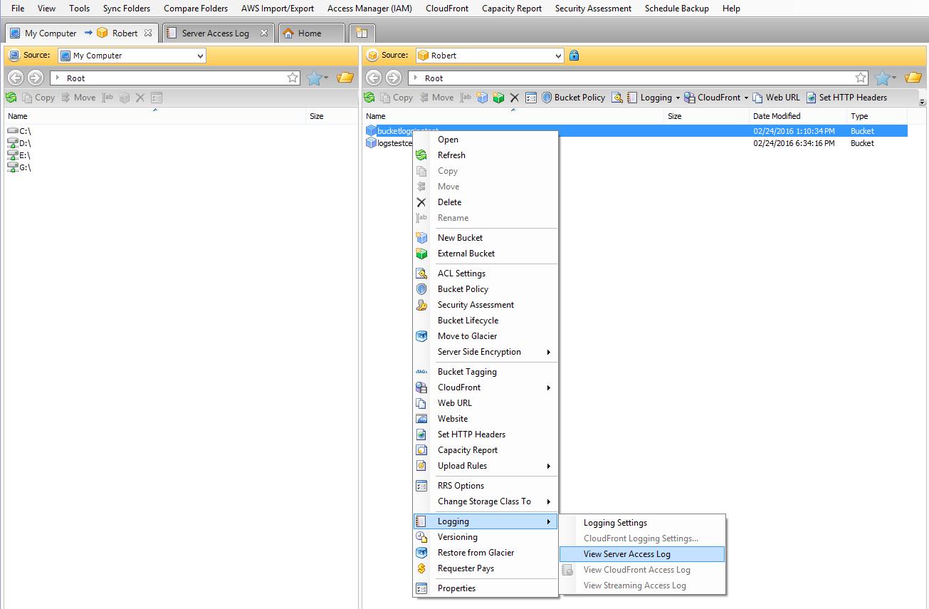 Amazon S3 Logging in CloudBerry Explorer