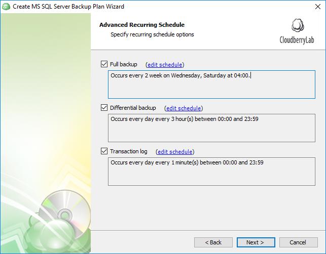 Advanced Scheduling of sql database backups part 2
