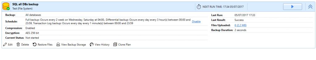 SQL database backup report
