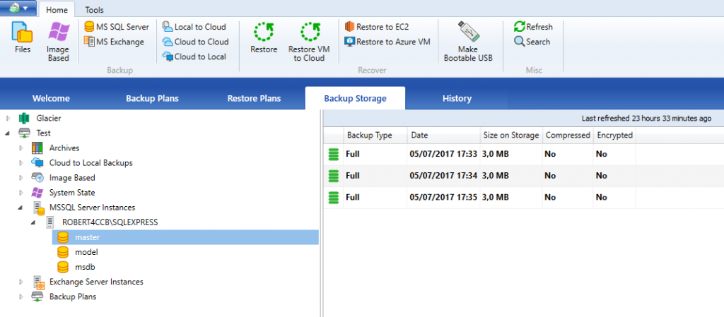Stored database backups overview