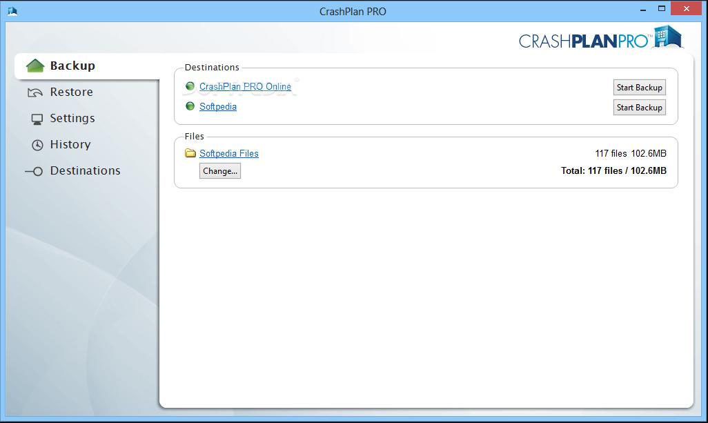Crashplan PRO interface