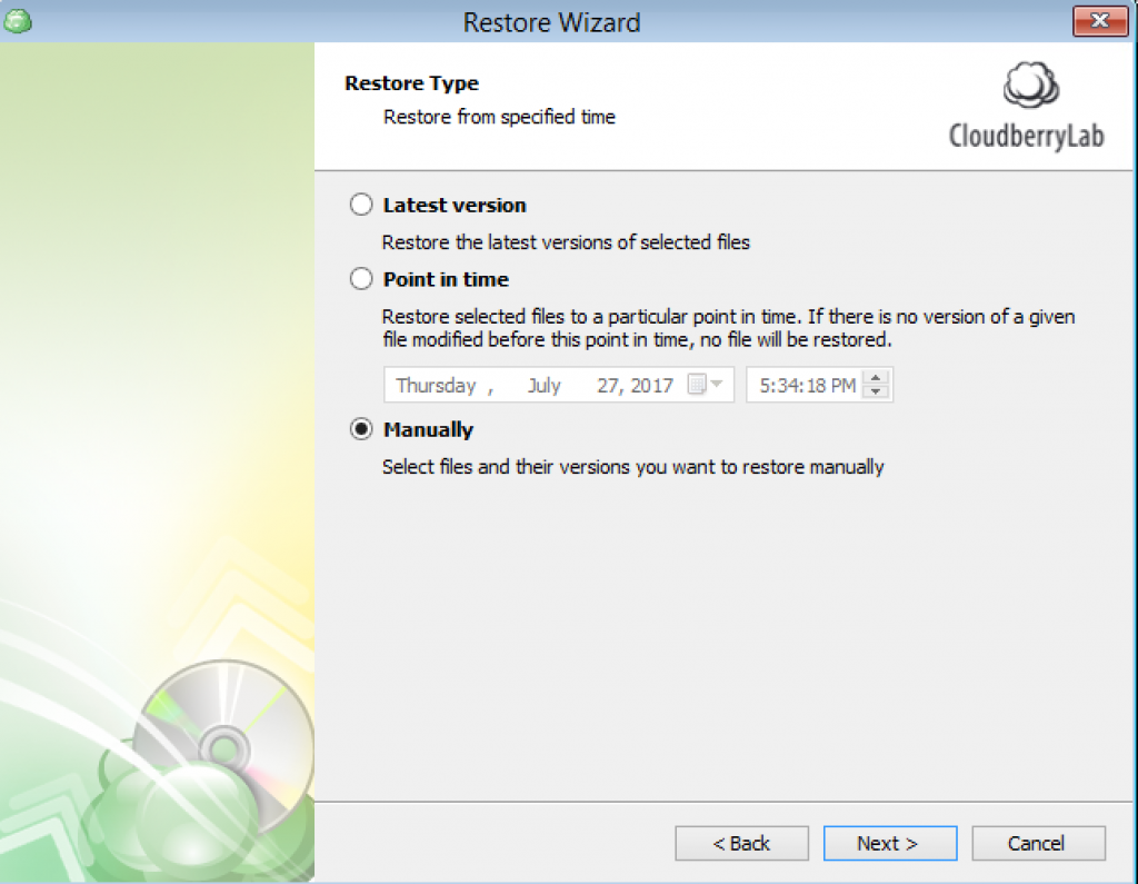 Manual Restore for Windows Server recovery