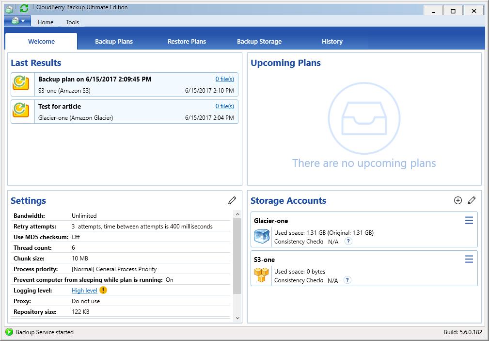 CloudBerry Backup dashboard
