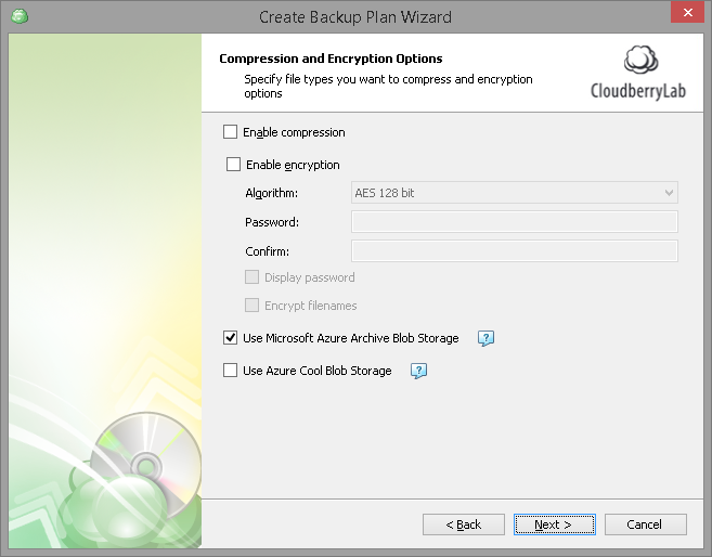 Compression and encryption options (CloudBerry software screenshot)