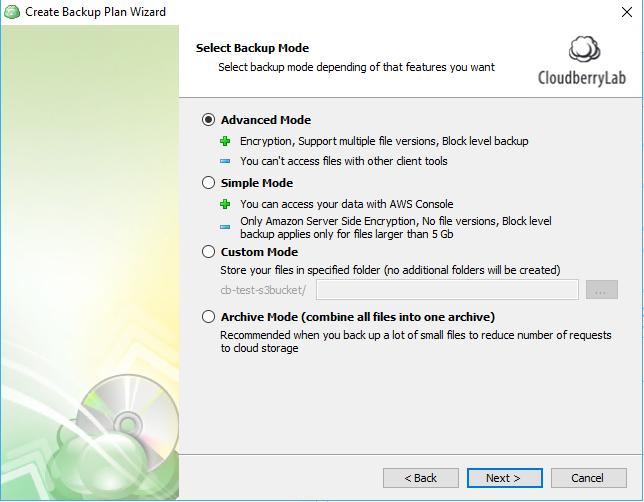 windows 10 cloud backup: select mode