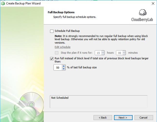 windows 10 cloud backup: schedule full