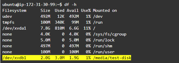 Resize Linux Partition: Use df -h command to list available partitions