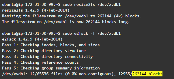 Linux partition: fix the mismatch in the file system configuration using resize2fs and then check the filesystem again