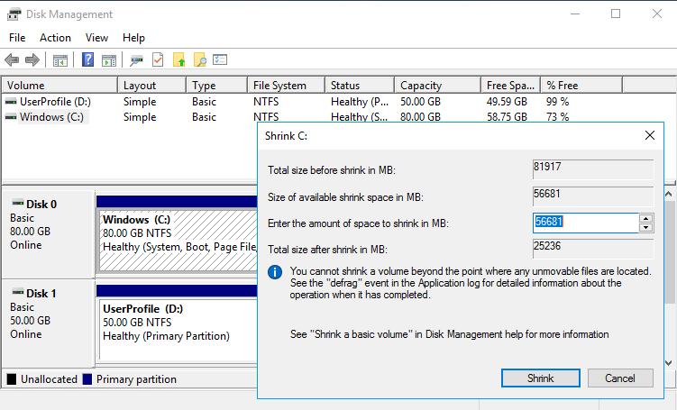 Resize Windows partition - Shrink