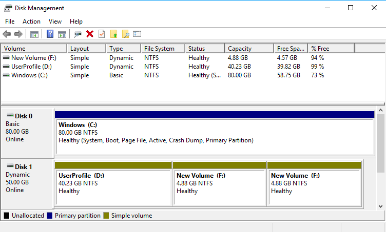 """Extending/Shrinking Windows Partition """"To the Left"""": Dynamic drives marked green"""