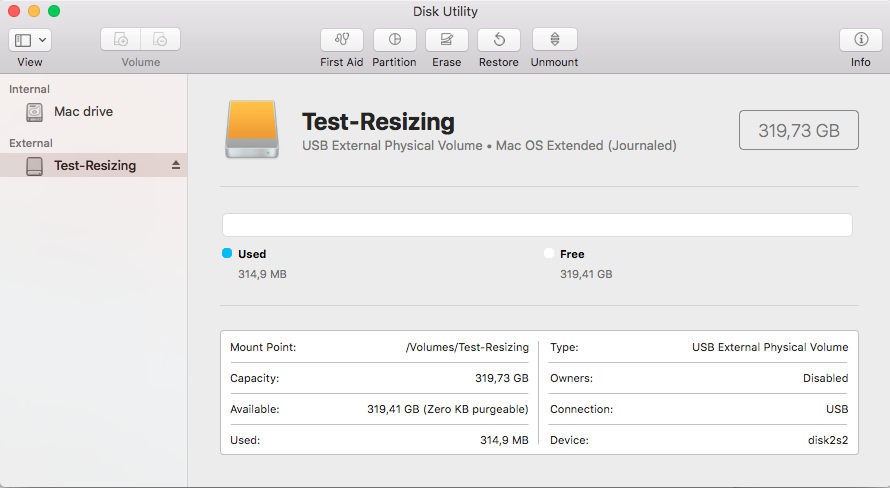 """Resize Mac partition: test configuration - external USB drive with a single partition """"Test-Resizing"""""""