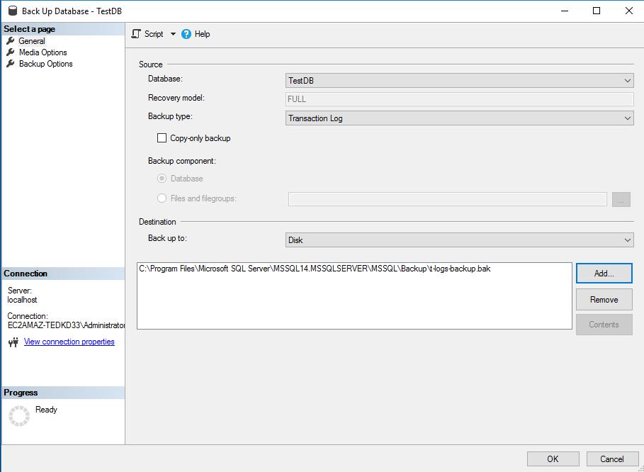 Select 'Transaction Log' backup type