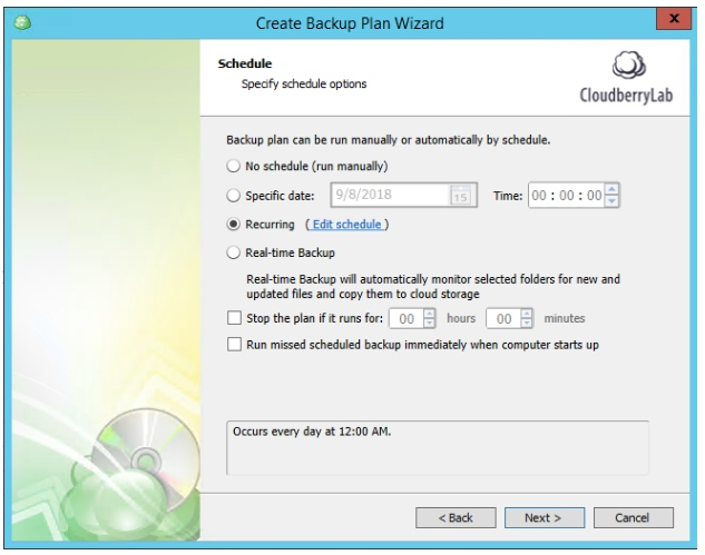 Multiple Scheduled Backups with CloudBerry Backup. Schedule settings