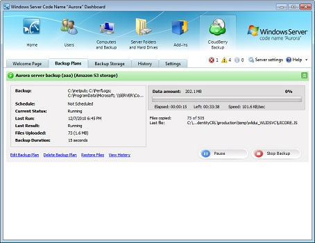 CloudBerry SBS 2011 Essentials Backup Screenshot