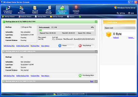CloudBerry WHS 2011 Backup Screenshot