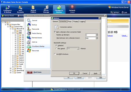 CloudBerry WHS Backup Screenshot