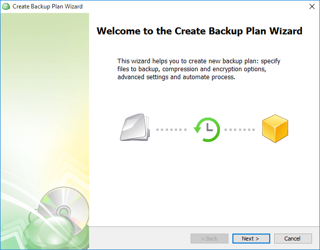 Create backup plan wizard
