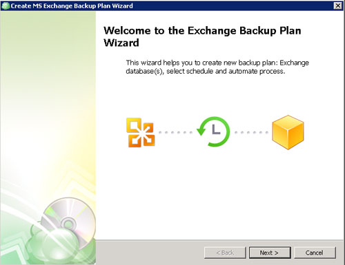 Exchange Backup Plan Wizard