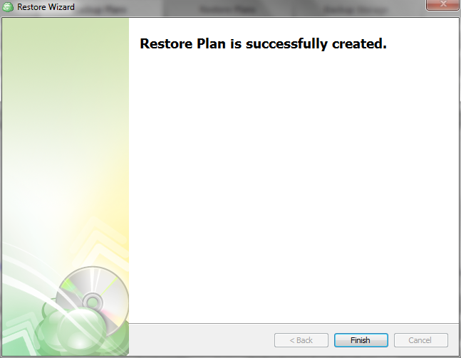 Restore plan is successfully created