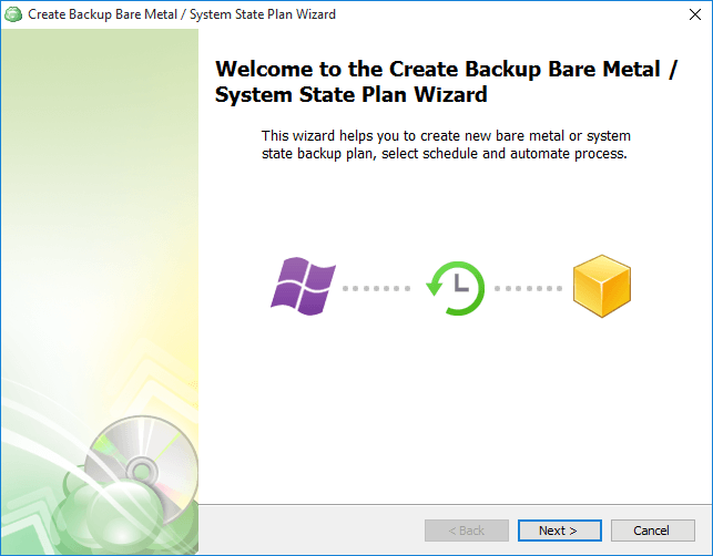 Create backup bare metal / system state plan wizard
