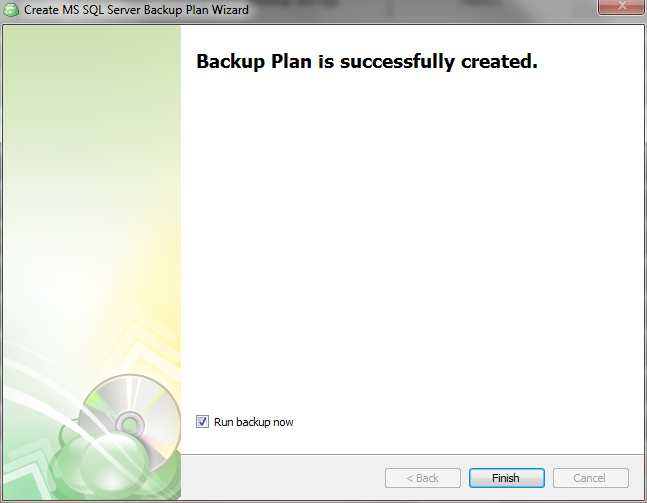 Backup plan is successfully created