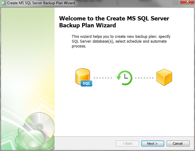 Create MS SQL server backup plan wizard