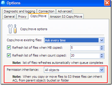 Options: Copy/Move Existing Files