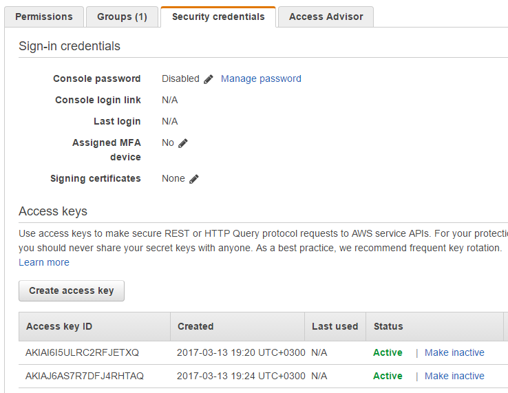 Retrieving AWS IAM Access Key Step 5