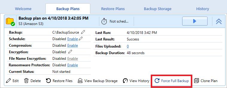 Force full backup option in Backup Plans tab