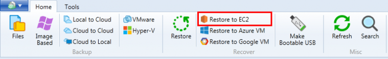 Run the Restore to EC2 wizard within CloudBerry Backup