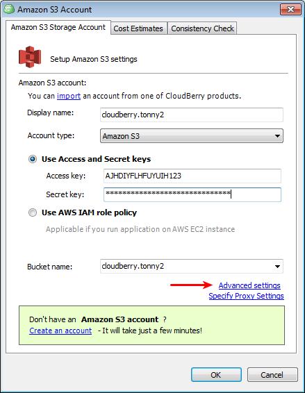 Amazon S3 Storage Account tab