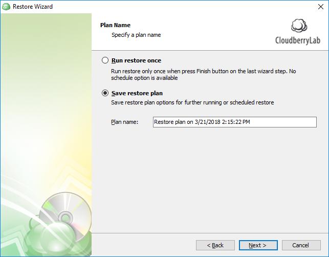 Specify SQL Server database restore plan name