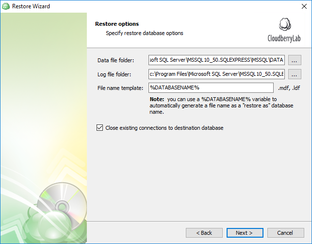Configuring additional options for the restored SQL Server databases