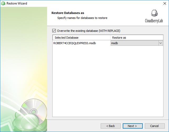 Specify the names for the restored SQL Server databases