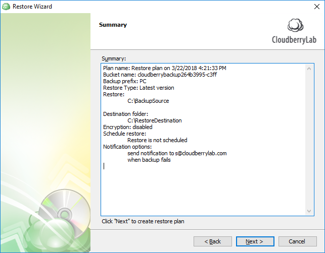 Reviewing the details of SQL Server database restore plan