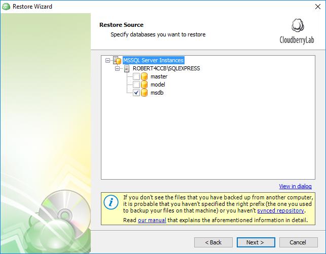 Selecting SQL Server databases for restore