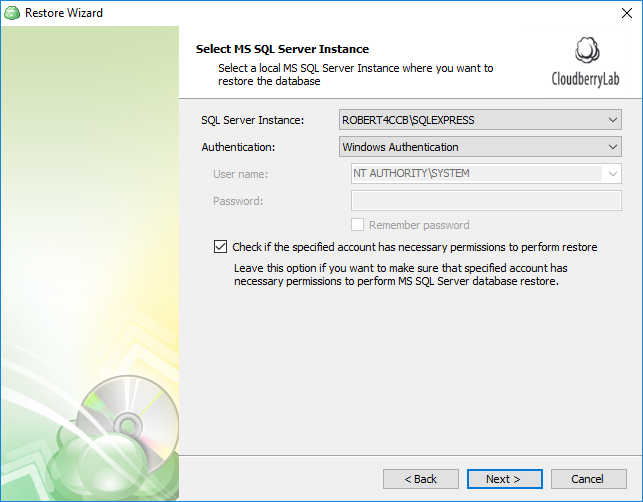 Selecting the SQL Server instance for restore plan