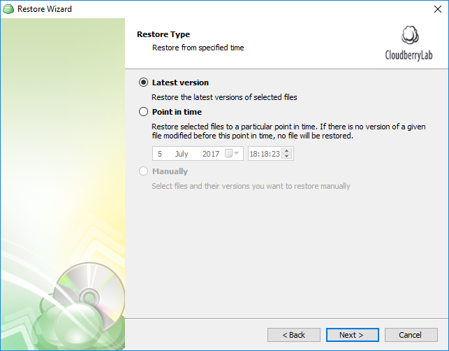 Select latest version or a specific point in time for SQL Server restore