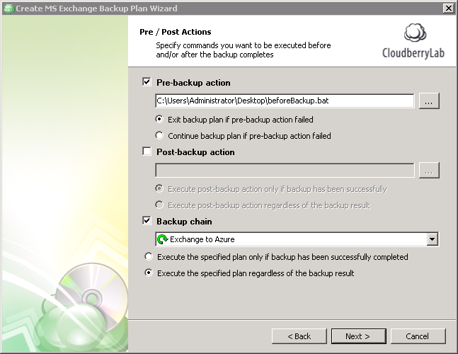Exchange backup. Configure pre- and post-actions
