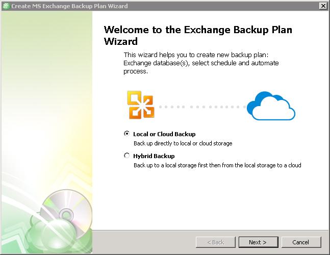 Exchange backup. Select backup destination