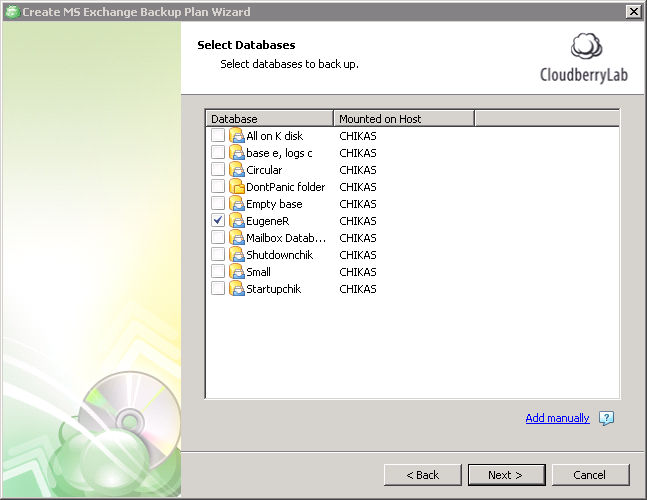 Exchange backup. Select databases