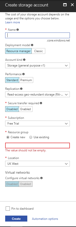 Creating storage account in Azure Management Portal