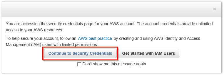 Retrieving AWS Root Access Key Step 2