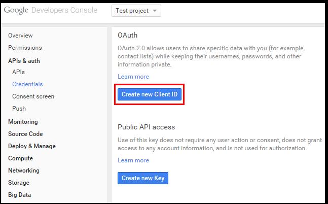 OAuth Credentials Creation