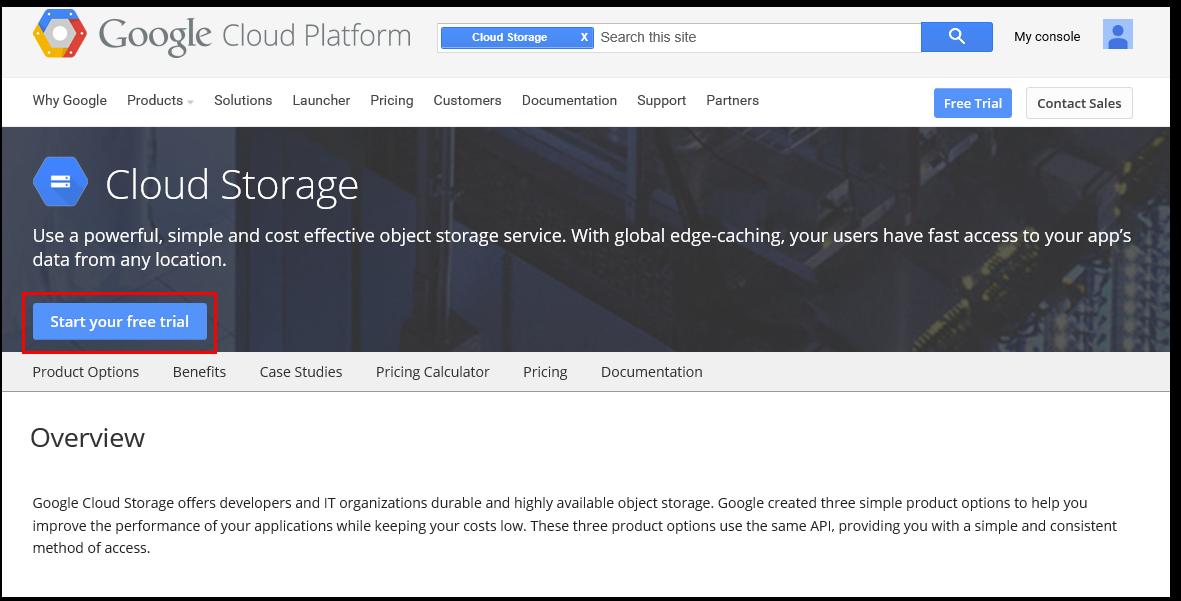 Google Cloud Storage welcome screen